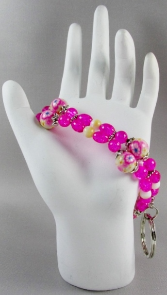 Pink and Beige  beaded Key Ring Bracelet with Flower Beads