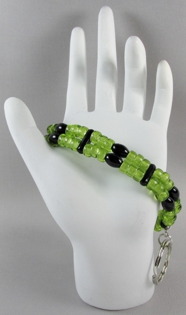 Black and  Green beaded ID Wristlet
