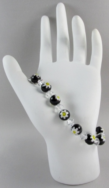 Black, White and Yellow beaded Bracelet with Swarovski Crystals
