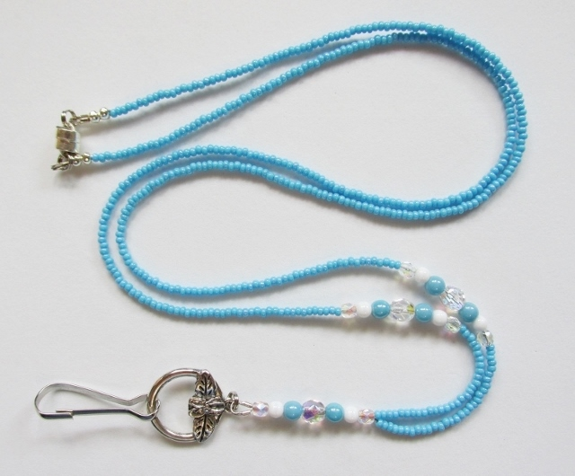 Light Blue, White and Clear Glass Beaded Magnetic Lanyard