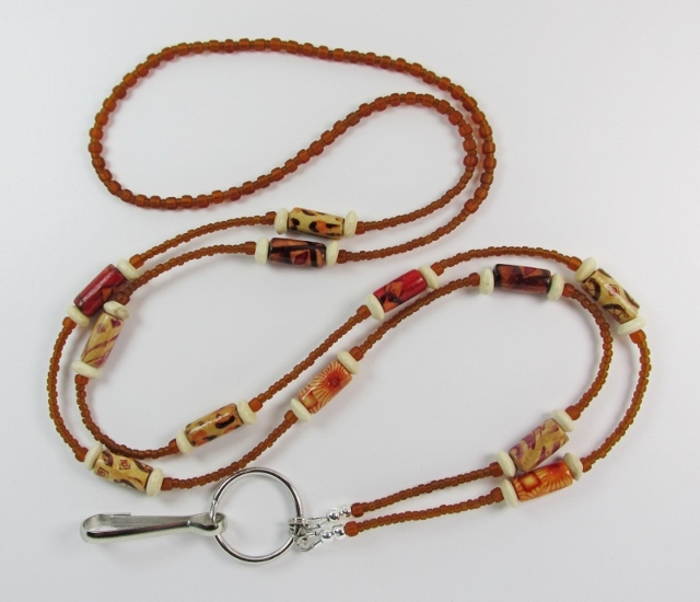 Glass and Wood  Beaded Lanyard with Assorted Patterned Wood Tubes