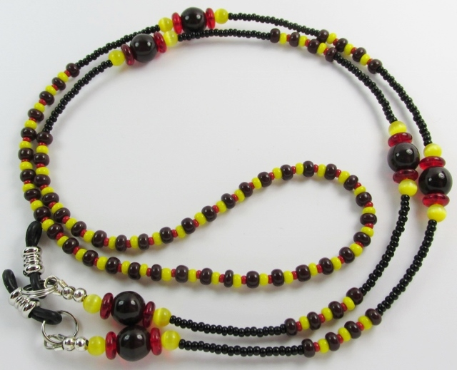 Brown Yellow Red and Black Beaded Eyeglass Necklace
