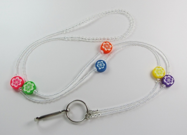 Clear Glass  Beaded Lanyard with Assorted Fimo Flower Beads
