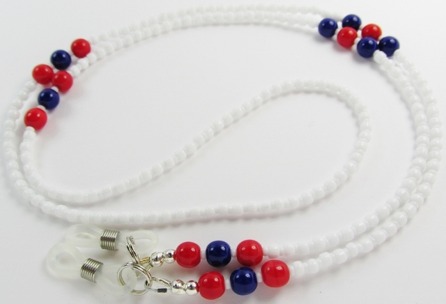 White, red and blue glass beaded eyeglass necklace