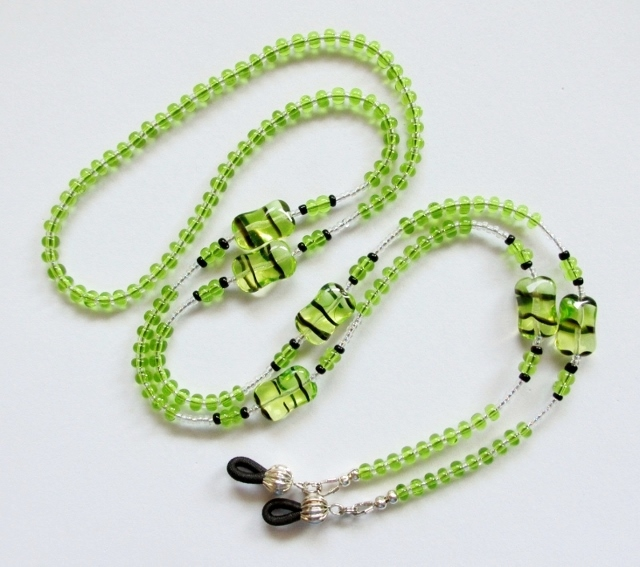Green and Black Beaded Eyeglass Holder