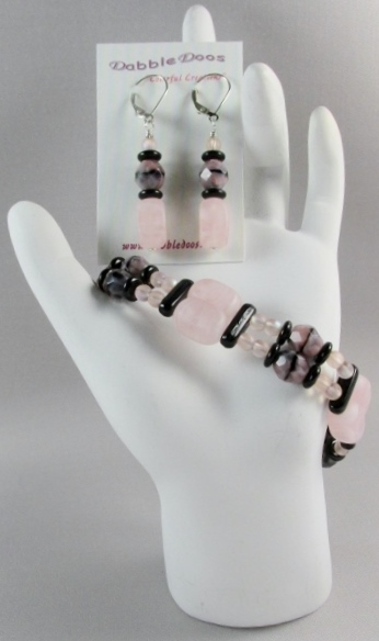 Pink and Black Bracelet and Earring Set