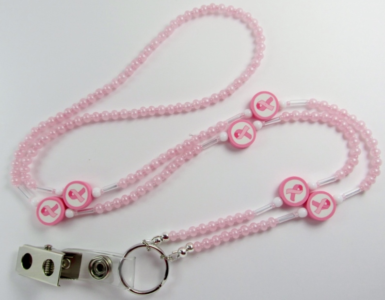 Pink, clear and white glass beaded lanyard with pink ribbon beads