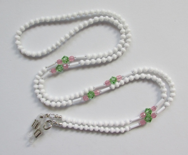 White, Pink and Peridot Glass Beaded Eyeglass Necklace