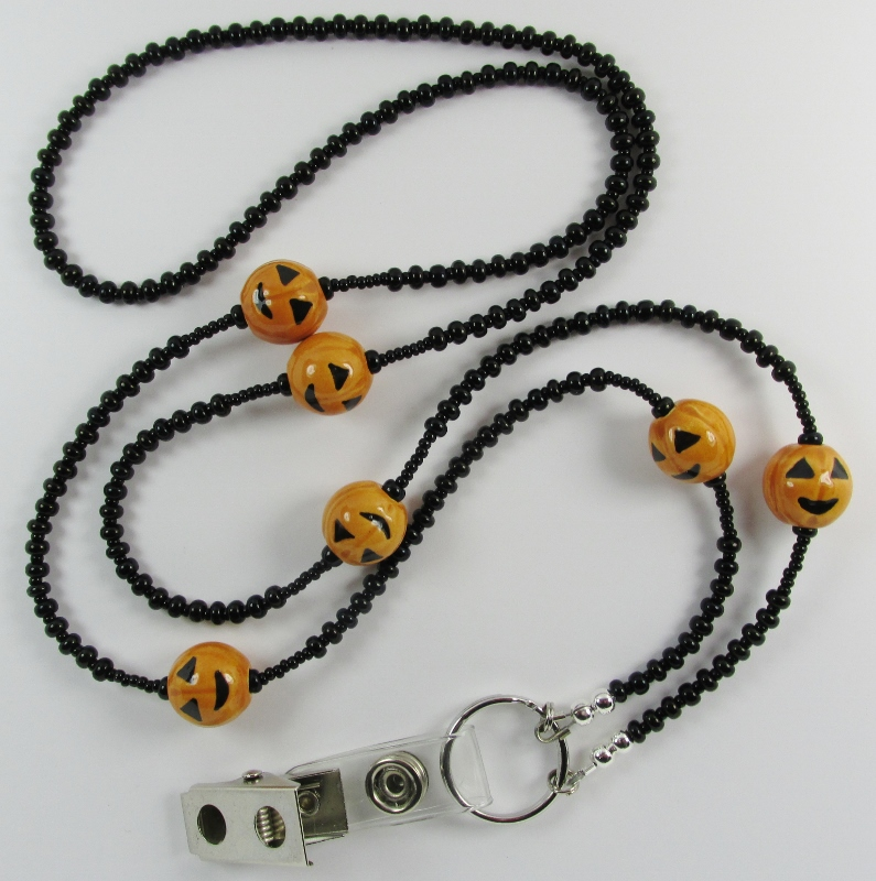 Black Glass  Beaded Lanyard with Ceramic Pumpkin Beads
