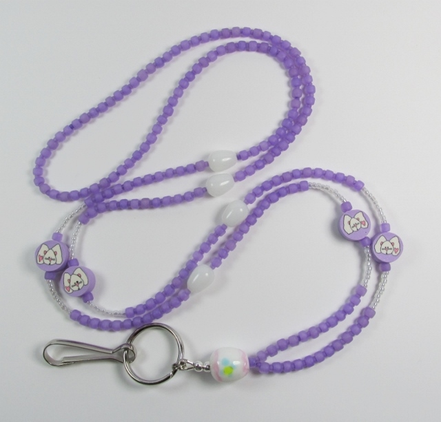 Lilac Purple Lanyard with White Glass Eggs and Fimo Bunny Beads