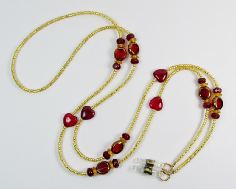 Gold and Red Glass Beaded Lanyard with Red Glass Heart Beads