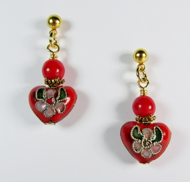 Red Cloisonn� Heart Pierced Earrings