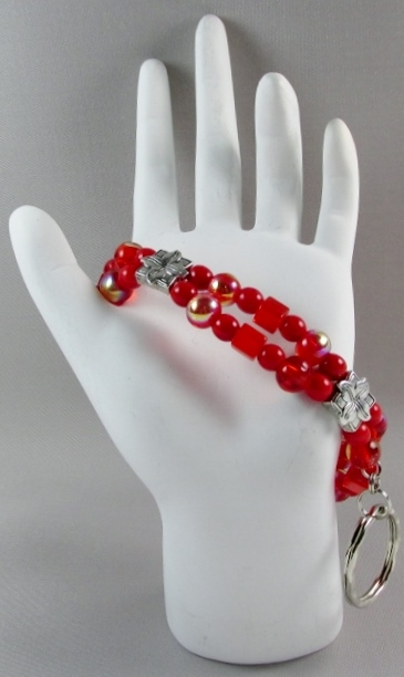 Red and Silver  beaded ID Wristlet