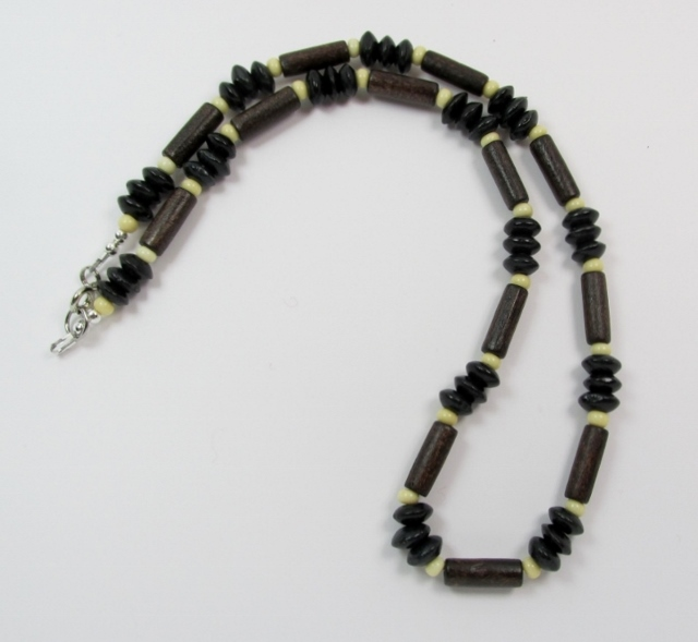 Multi Black, Brown  and Tan Wood and Glass Beaded Choker Necklace