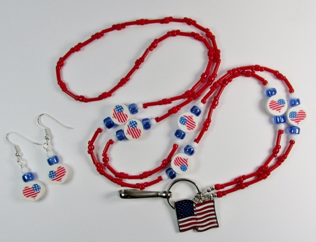 RWB badge  holder necklace with Heart Shaped USA flags and matching pierced earrings
