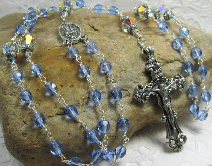 Sapphire Blue and Swarovski sterling silver linked Rosary