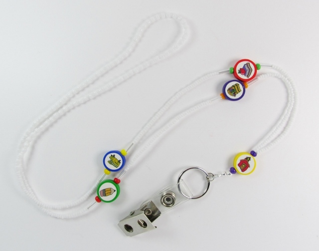 White beaded badge  holder necklace with polymer school beads