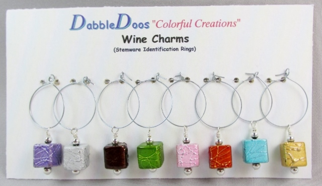 Stemware Identification Rings with Assorted Colored Cube Beads