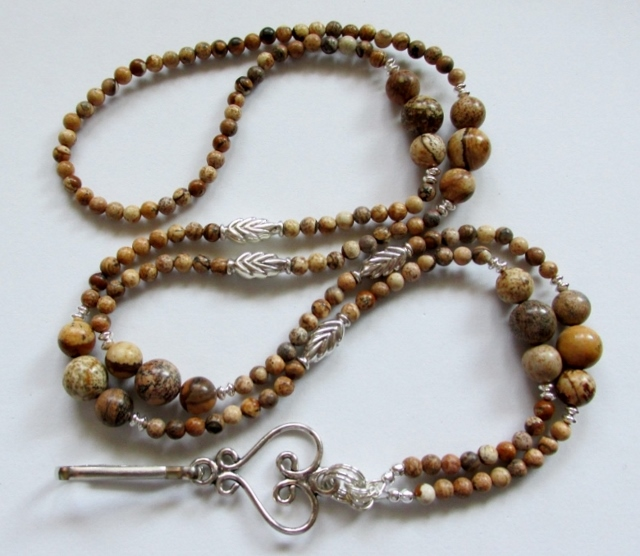 Picture Jasper  and Sterling Silver Leaves beaded Lanyard