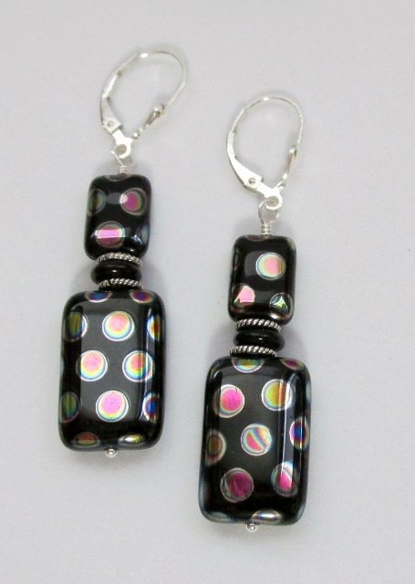 Sterling Silver and Black Vitral Dotted Dangle Earrings