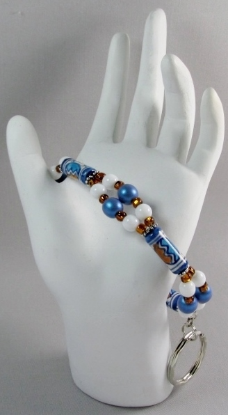 Blue, White and  Brown beaded Key Ring Bracelet with Sun and Moon ceramic beads