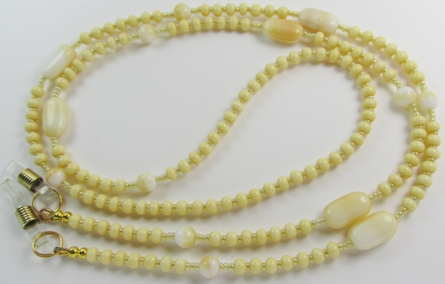 Beige Glass Beaded Eyeglass Necklace