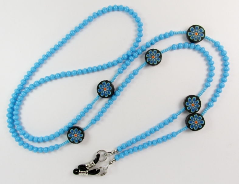 Turquoise blue beaded eyeglass necklace with flower beads