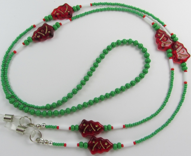 Green, White and Red Glass Beaded Eyeglass Necklace with Red Glass Christmas Trees