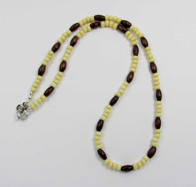 Tan Glass and  Dark Brown Wood Beaded Choker Necklace