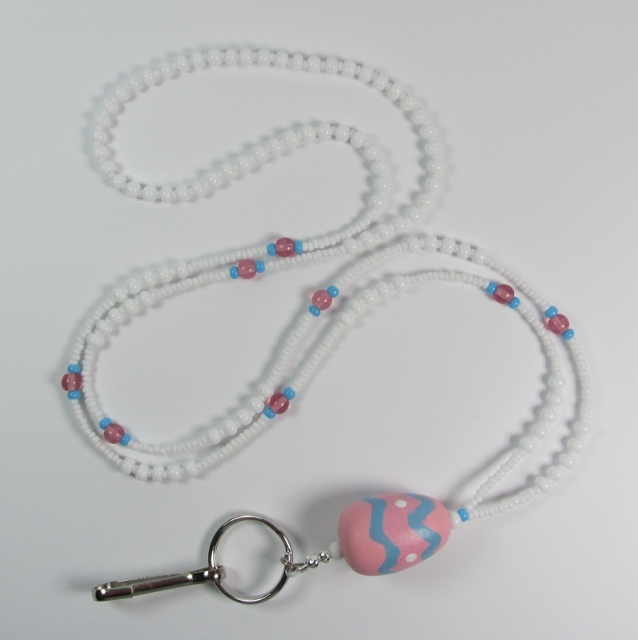 White, Blue and Pink Glass Beaded Badge Holder Necklace with Large Wood Easter Egg Drop