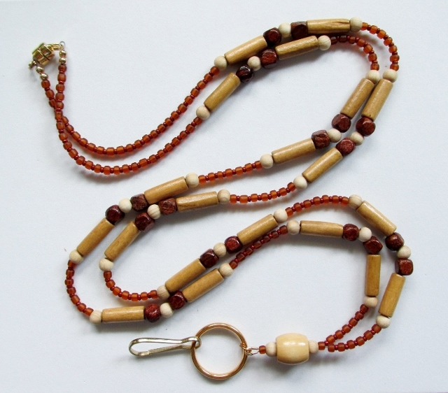 Wood and  Glass Beaded Magnetic Breakaway Lanyard