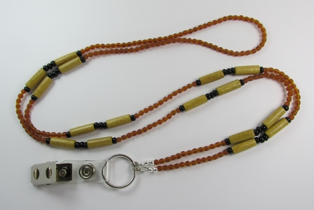 Brown and Black Glass Beaded Lanyard with Wood Tube Beads