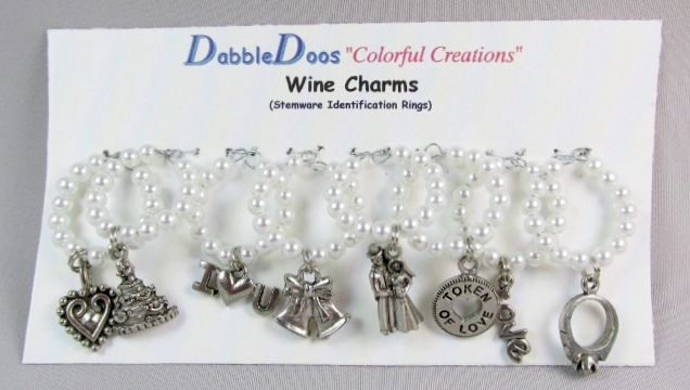 White Glass Pearl beaded Wine Rings with Assorted Wedding Charms