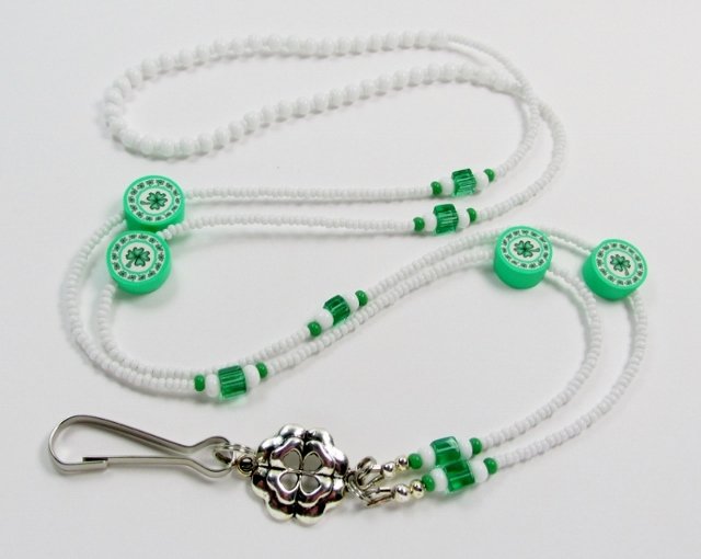 White and Green Glass Beaded Lanyard with Fimo Shamrock Beads