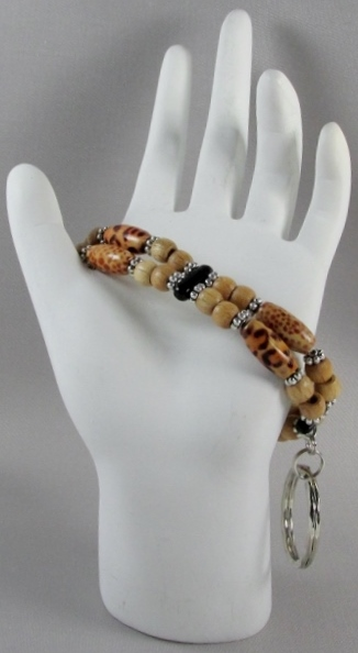 Brown and  Black beaded Key Ring Bracelet with Animal Print Beads