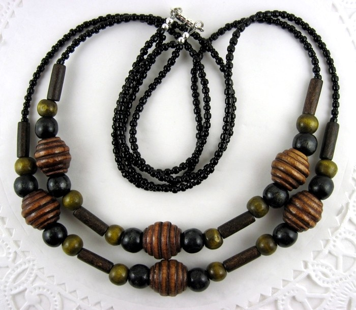 Double stranded  wood-beaded necklace